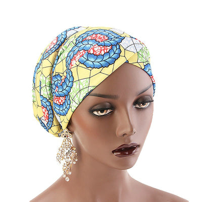 Temple printed Turban_Turbans_Head_covering_Modest_Headcovres_Flower_Cotton_Chemo hat_Cancer hat_African_Print_Basic_Pre_tied_Yellow-4