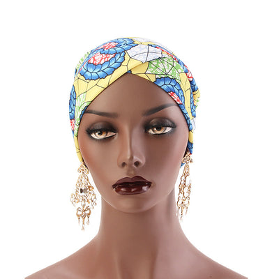 Temple printed Turban_Turbans_Head_covering_Modest_Headcovres_Flower_Cotton_Chemo hat_Cancer hat_African_Print_Basic_Pre_tied_Yellow-3