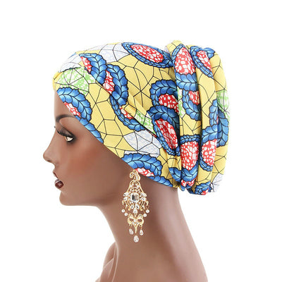 Temple printed Turban_Turbans_Head_covering_Modest_Headcovres_Flower_Cotton_Chemo hat_Cancer hat_African_Print_Basic_Pre_tied_Yellow-2