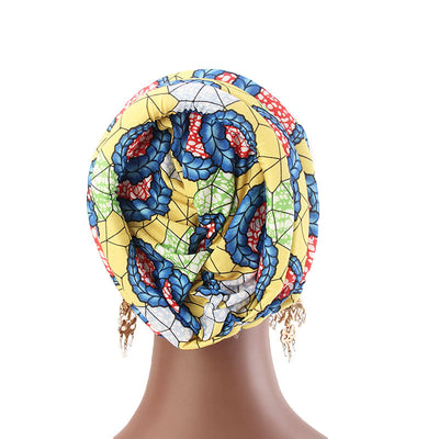 Temple printed Turban_Turbans_Head_covering_Modest_Headcovres_Flower_Cotton_Chemo hat_Cancer hat_African_Print_Basic_Pre_tied_Yellow-5