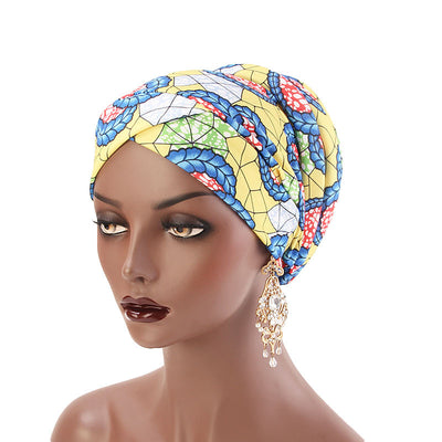 Temple printed Turban_Turbans_Head_covering_Modest_Headcovres_Flower_Cotton_Chemo hat_Cancer hat_African_Print_Basic_Pre_tied_Yellow