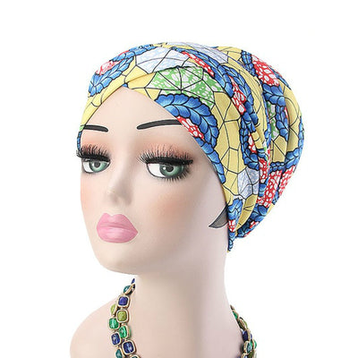 Temple printed Turban_Turbans_Head_covering_Modest_Headcovres_Flower_Cotton_Chemo hat_Cancer hat_African_Print_Basic_Pre_tied_Yellow-6