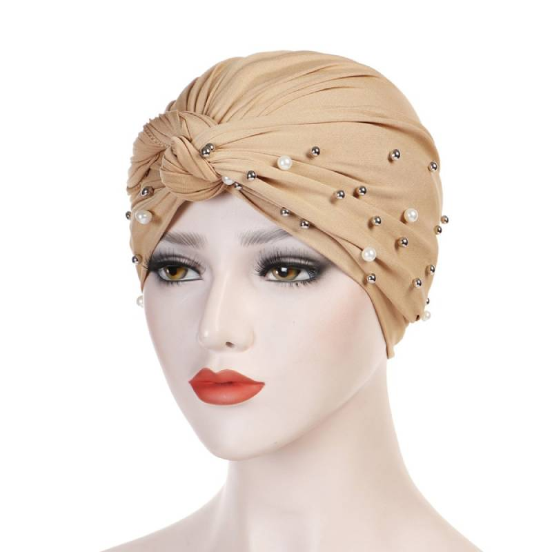 Titi Pearls Headwrap Free Shipping Headscarf For Work African Turban With Beads Shop Online Muslim Hijab Tichel For Jewish Indian Headcovering Cancer Hat-Beige
