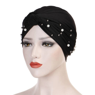 Titi Pearls Headwrap Free Shipping Headscarf For Work African Turban With Beads Shop Online Muslim Hijab Tichel For Jewish Indian Headcovering Cancer Hat-Black