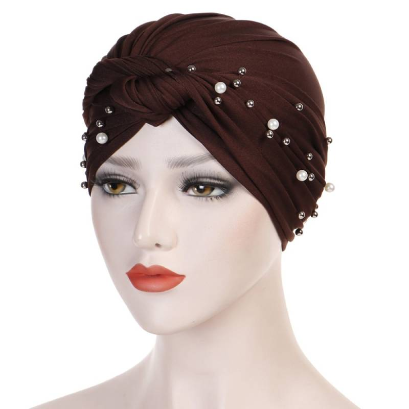 Titi Pearls Headwrap Free Shipping Headscarf For Work African Turban With Beads Shop Online Muslim Hijab Tichel For Jewish Indian Headcovering Cancer Hat-Brown