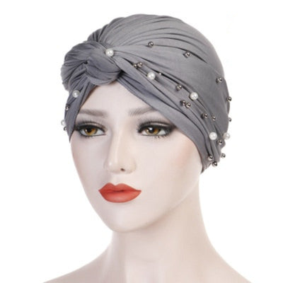 Titi Pearls Headwrap Free Shipping Headscarf For Work African Turban With Beads Shop Online Muslim Hijab Tichel For Jewish Indian Headcovering Cancer Hat-Gray