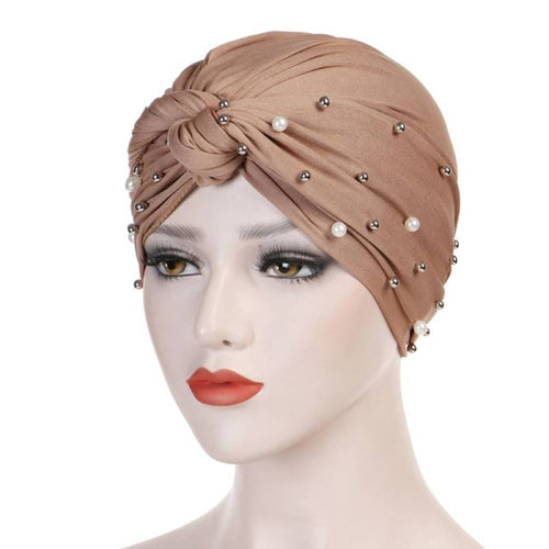Titi Pearls Headwrap Free Shipping Headscarf For Work African Turban With Beads Shop Online Muslim Hijab Tichel For Jewish Indian Headcovering Cancer Hat-Khaki