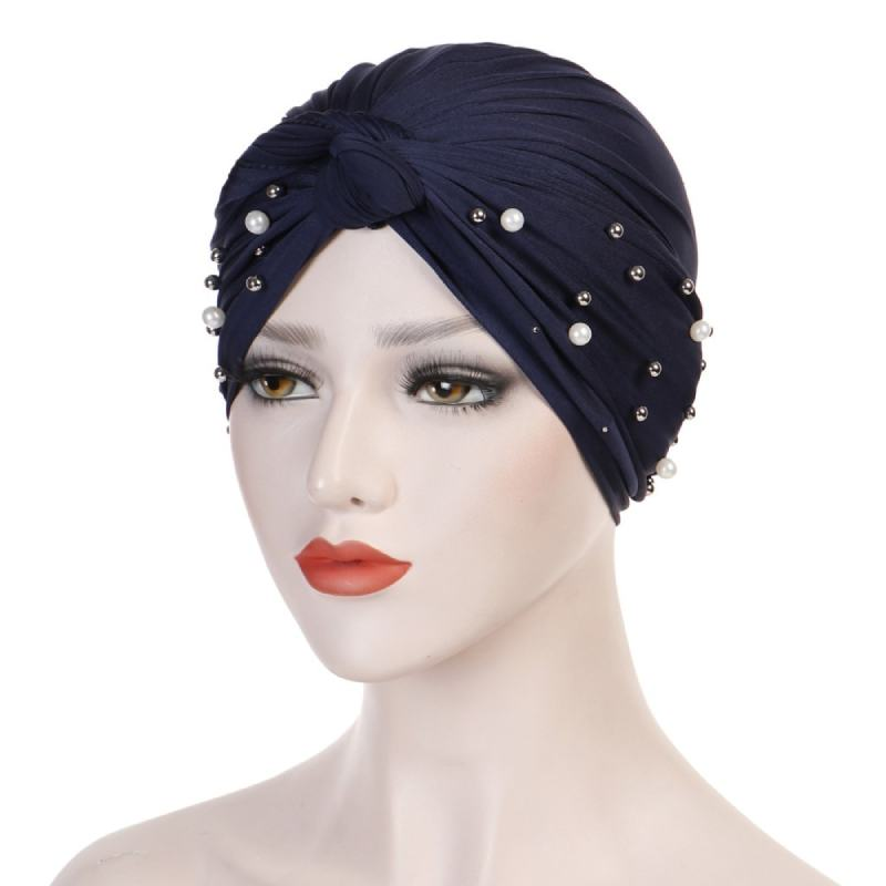 Titi Pearls Headwrap Free Shipping Headscarf For Work African Turban With Beads Shop Online Muslim Hijab Tichel For Jewish Indian Headcovering Cancer Hat-Navy blue