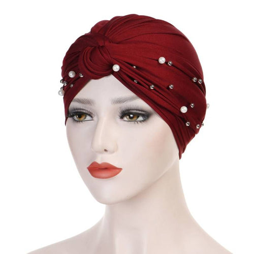 Titi Pearls Headwrap Free Shipping Headscarf For Work African Turban With Beads Shop Online Muslim Hijab Tichel For Jewish Indian Headcovering Cancer Hat-Red