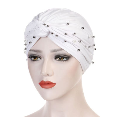Titi Pearls Headwrap Free Shipping Headscarf For Work African Turban With Beads Shop Online Muslim Hijab Tichel For Jewish Indian Headcovering Cancer Hat-White