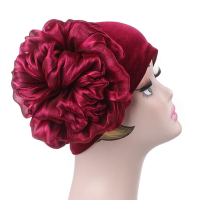 Velvet Flower Turban_Turbans_Head_covering_Modest_Floral_Headcovers_Cancer_Hat_Red