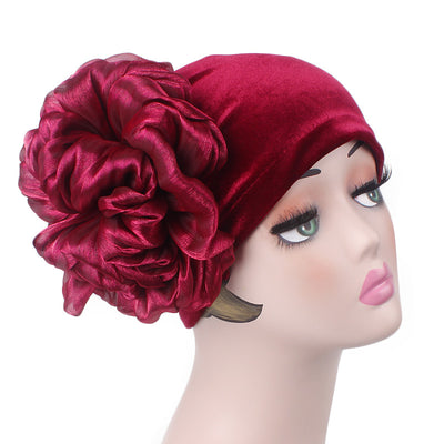 Velvet Flower Turban_Turbans_Head_covering_Modest_Floral_Headcovers_Cancer_Hat_ Beanie_Red-2