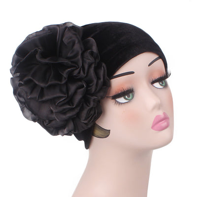 Velvet Flower Turban_Turbans_Head_covering_Modest_Floral_Headcovers_Cancer_Hat_ Beanie_Black