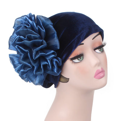 Velvet Flower Turban_Turbans_Head_covering_Modest_Floral_Headcovers_Cancer_Hat_ Beanie_Blue