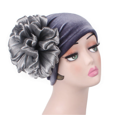 Velvet Flower Turban_Turbans_Head_covering_Modest_Floral_Headcovers_Cancer_Hat_ Beanie_Gray