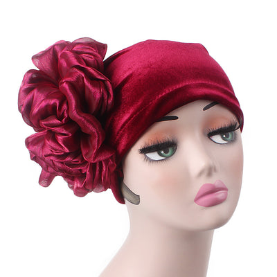 Velvet Flower Turban_Turbans_Head_covering_Modest_Floral_Headcovers_Cancer_Hat_Red-3