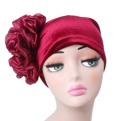 Velvet Flower Turban_Turbans_Head_covering_Modest_Floral_Headcovers_Cancer_Hat_ Beanie_Red-4