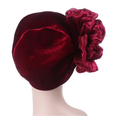 Velvet Flower Turban_Turbans_Head_covering_Modest_Floral_Headcovers_Cancer_Hat_ Beanie_Red-5