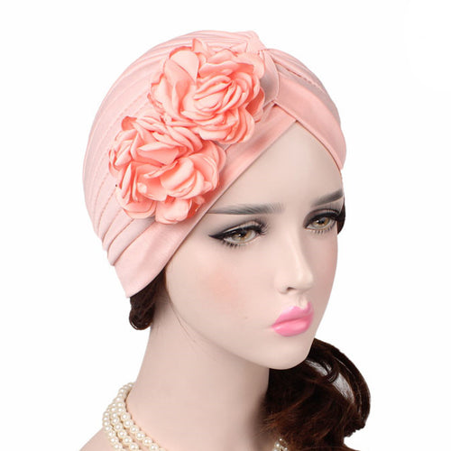 Virginia_Floral_Turban_Turbans_Head_covering_Modest_Headcovers_Shell_Pink