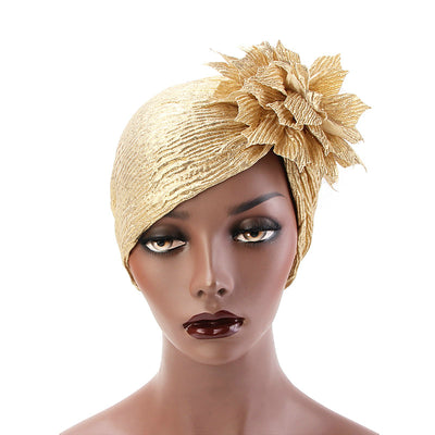 Yafa Metallic Flower Turban Elegant Headband for Women Muslim, India Hat, Chemo Beanie, Luxury Headscarf, Headwrap Turbante Gold-2