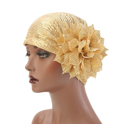 Yafa Metallic Flower Turban Elegant Headband for Women Muslim, India Hat, Chemo Beanie, Luxury Headscarf, Headwrap Turbante Gold