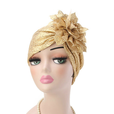 Yafa Metallic Flower Turban Elegant Headband for Women Muslim, India Hat, Chemo Beanie, Luxury Headscarf, Headwrap Turbante Gold-5
