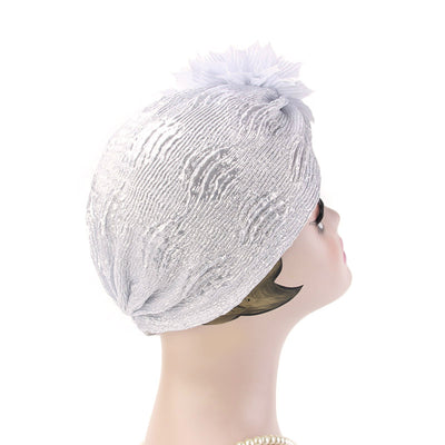 Yafa Metallic Flower Turban Elegant Headband for Women Muslim, India Hat, Chemo Beanie, Luxury Headscarf, Headwrap Turbante Silver-2
