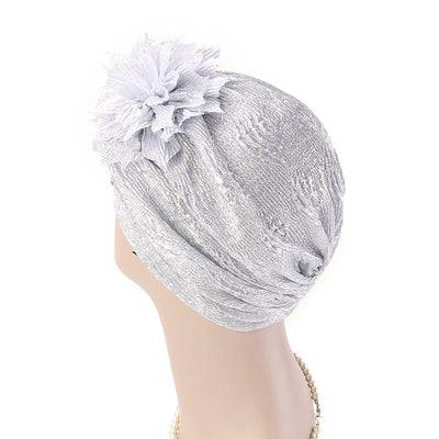 Yafa Metallic Flower Turban Elegant Headband for Women Muslim, India Hat, Chemo Beanie, Luxury Headscarf, Headwrap Turbante Silver-3