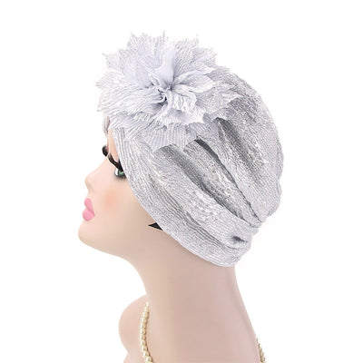 Yafa Metallic Flower Turban Elegant Headband for Women Muslim, India Hat, Chemo Beanie, Luxury Headscarf, Headwrap Turbante Silver