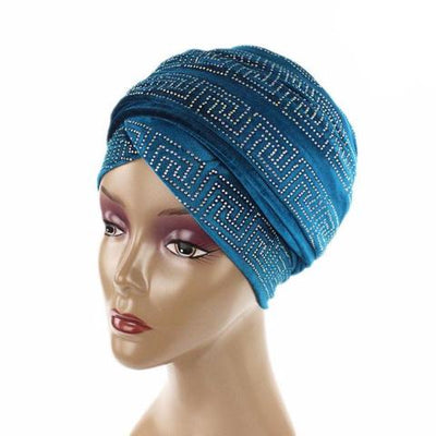 Ryan Diamante Headscarf Headscarf, Head wrap, Head covers, Head covering, Islamic Headscarf, Bun Headscarf, Blue