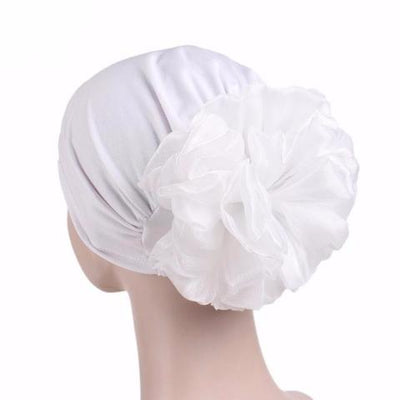King_flower_turban_Head_covering_Modest_Headcovres_Elegant_Chemo hat_Cancer hat_Fancy_Wine_White