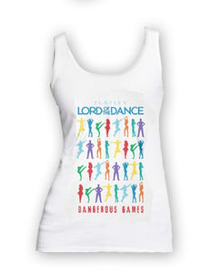 Lord of The Dance (Silhouettes Repeat) Ladies White Vest