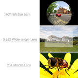 3-in-1 Cell Phone Camera Lens Kits with 0.65X Wide Angle/20X Macro/160 Fisheye Lens Clip for Almost All Phones