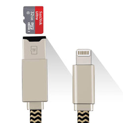 2-in-1 Memory Card Reader & Apple Lightning Cable for iPhone / iPad