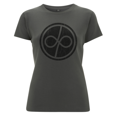 Deep Purple (Infinite Distressed Logo) Charcoal Ladies T-Shirt