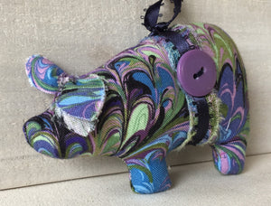 Purple Pig Ornament- Animal Christmas Ornament - Novelty Ornament