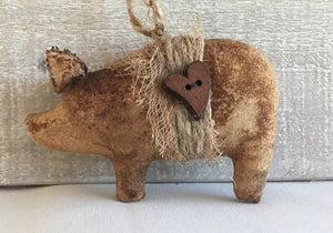 primitive pig ornaments