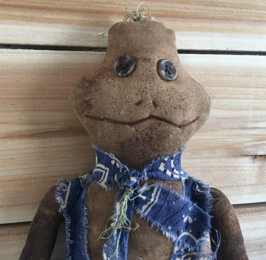 Primitive Folk Art Frog Doll - Primitive Frog Wall Art