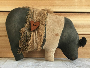 Primitive Hampshire Pot Bellied Pig, Black and White Pot Belly Pig