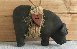 Primitive Pig Christmas Ornaments - Black Pot Belly Pig