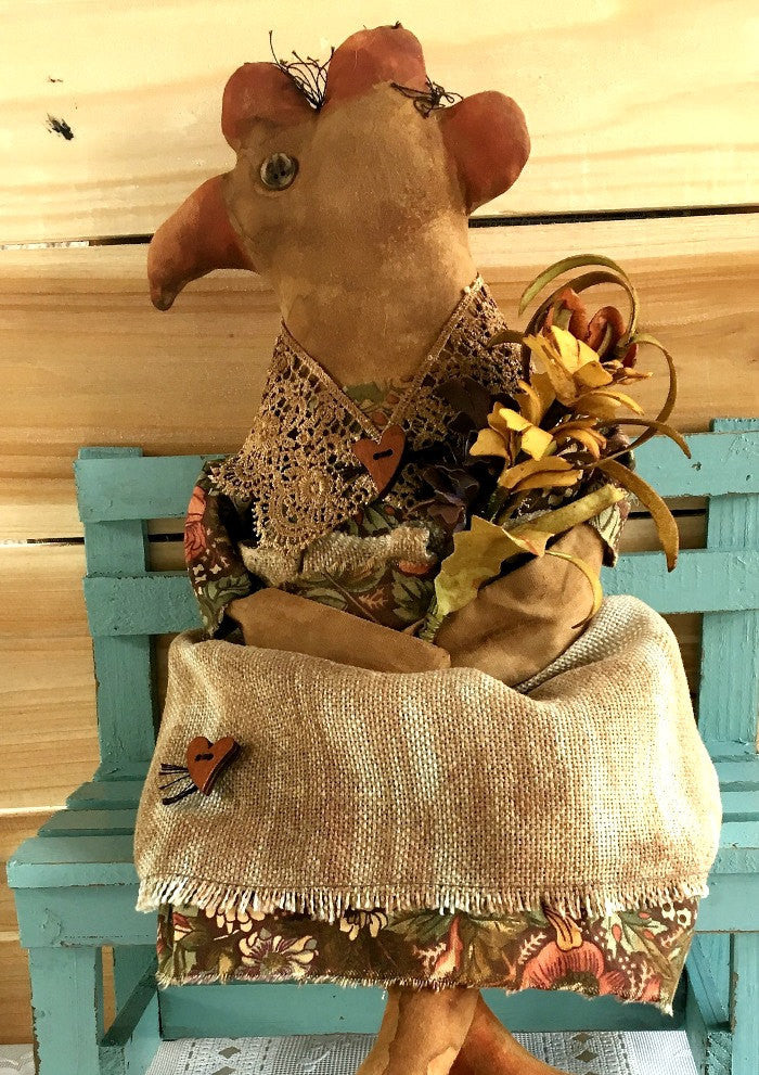 Primitive Folk Art Chicken Doll - Farmhouse Chicken Decor