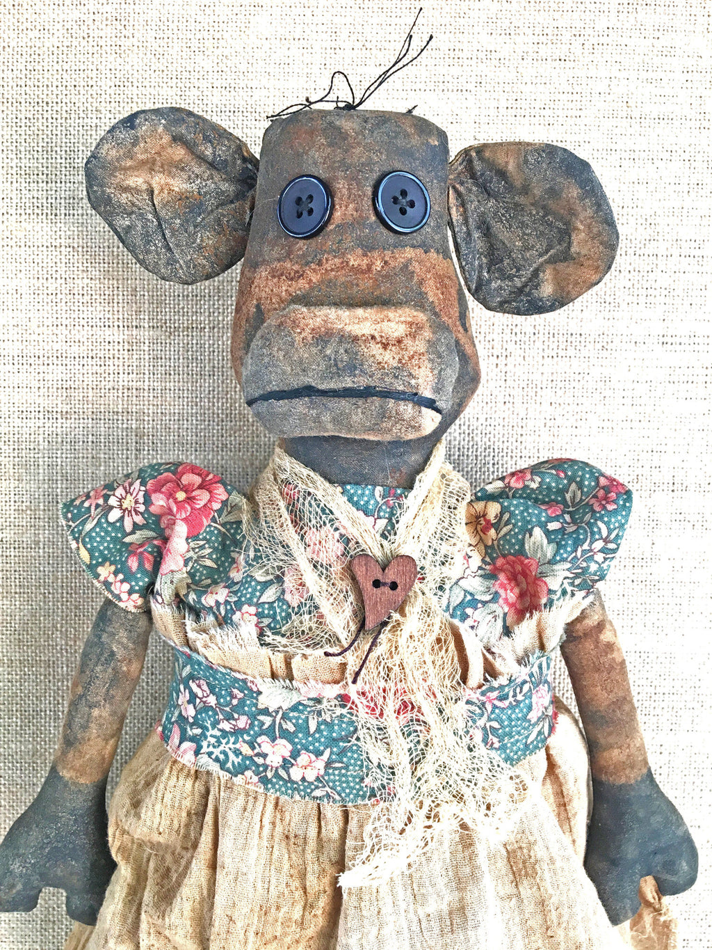 Primitive Folk Art Cow Doll - Primitive Animal Doll
