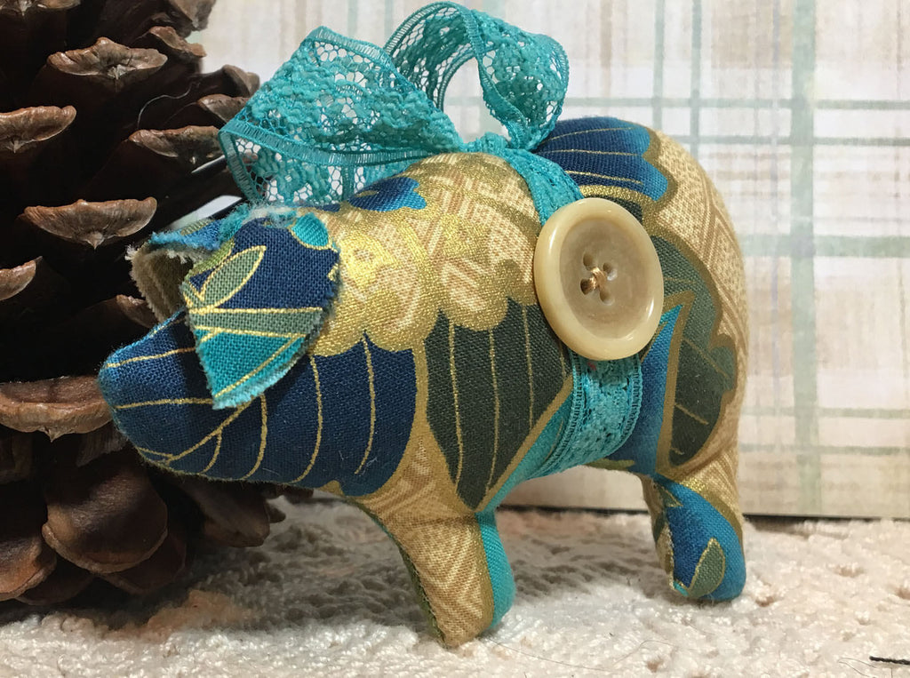 Shabby Cottage Blue and Gold PiggoDilly Christmas Ornaments