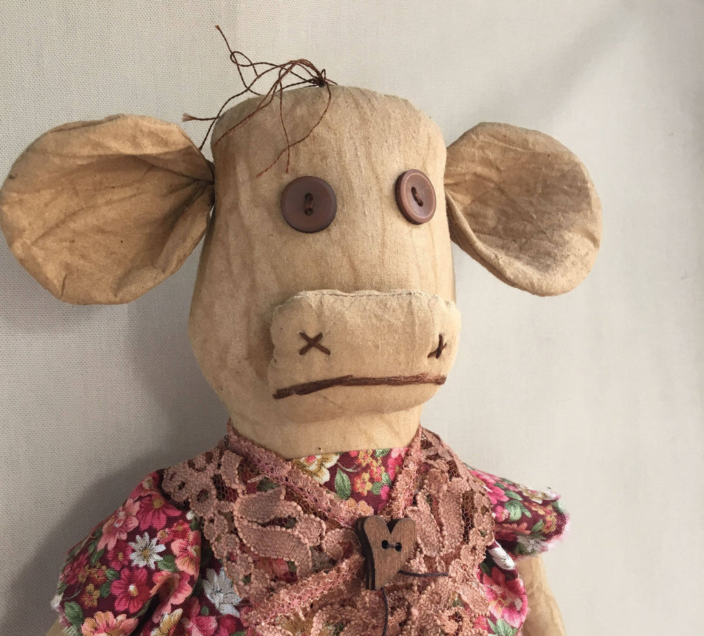 Primitive Folk Art Cow Doll