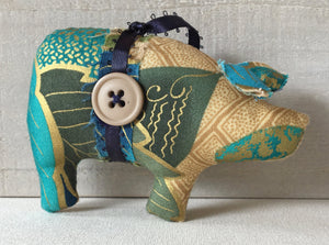 Turquoise Gold Novelty Ornament - Cottage Style Farmhouse Ornament