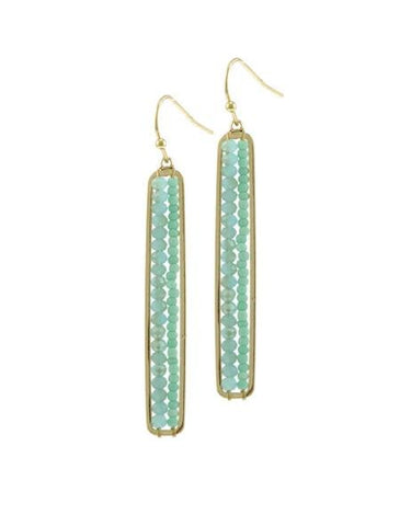 Mint Precious Stone Bar Earrings by Nakamol