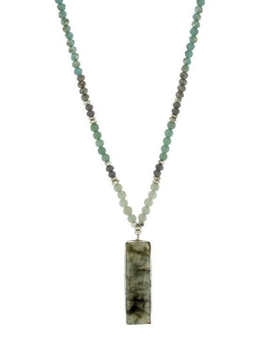 NAKAMOL- LABRADORITE PENDANT & TEAL CRYSTAL NECKLACE