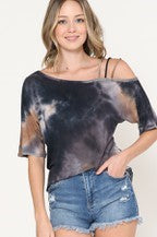 Tie Dye One Shoulder Off Top with Strap Detail
