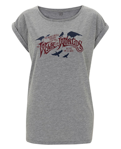 Jeff Wayne's Musical Version Of The War Of The Worlds - Birds Grey Marl Rolled Sleeve T-Shirt