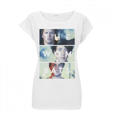 The Wombats (Photo Stack) White Ladies Rolled Sleeve T-Shirt